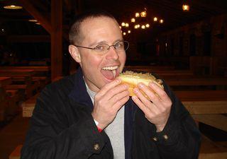 Jeff eats a brat!
