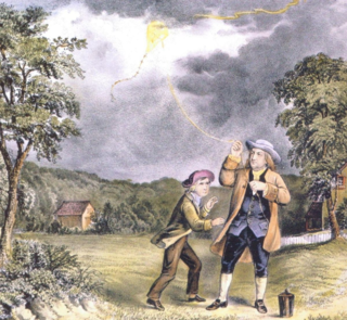 Ben & William Franklin with Kite photo